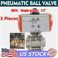 New 12 Pneumatic Actuated Ball Valve Spring Return Ptfe Ssteel Single Acting