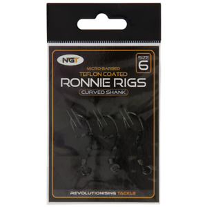 Swivel Ronnie Rigs size 10 Spinner Rig Micro Barbed Teflon Curved Carp Hooks