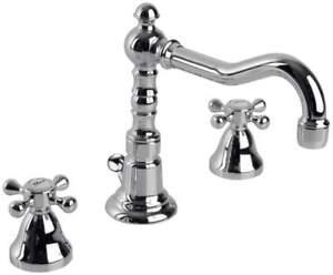 Rubinetto rubinetteria bagno 3 fori canna alta girevole per lavabo