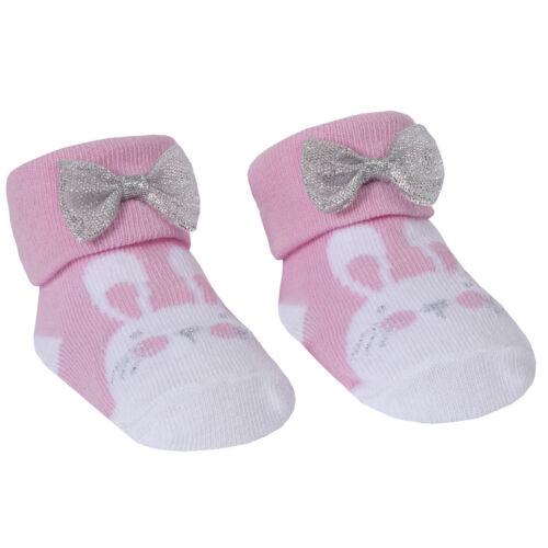 Baby Girl Socks Pink White Ditsy Bunny Stripes Pink Organza Bag 0-6-12M Babytown