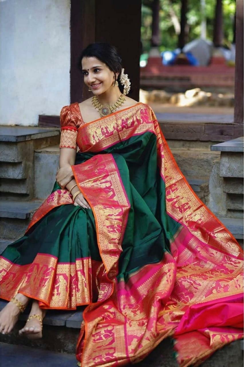 Saree Silk Kanchipuram Sari Indian Designer Traditional Bollywood Fancy Wear 1