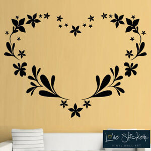 Wall Stickers Heart Floral Love Living Room Bedroom Art Decals Vinyl Home Decor Ebay