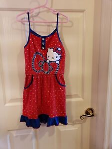 5bb54c25f Image is loading Hello-kitty-red-blue-summer-dress-size-x6