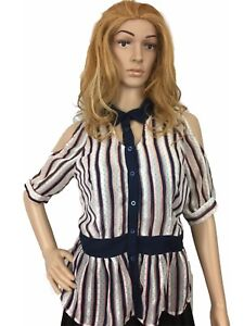 Eye-Candy-Womens-Top-Sheer-Collared-Chiffon-Slim-Fit-Cutout-Sleeve-Stripes-Small