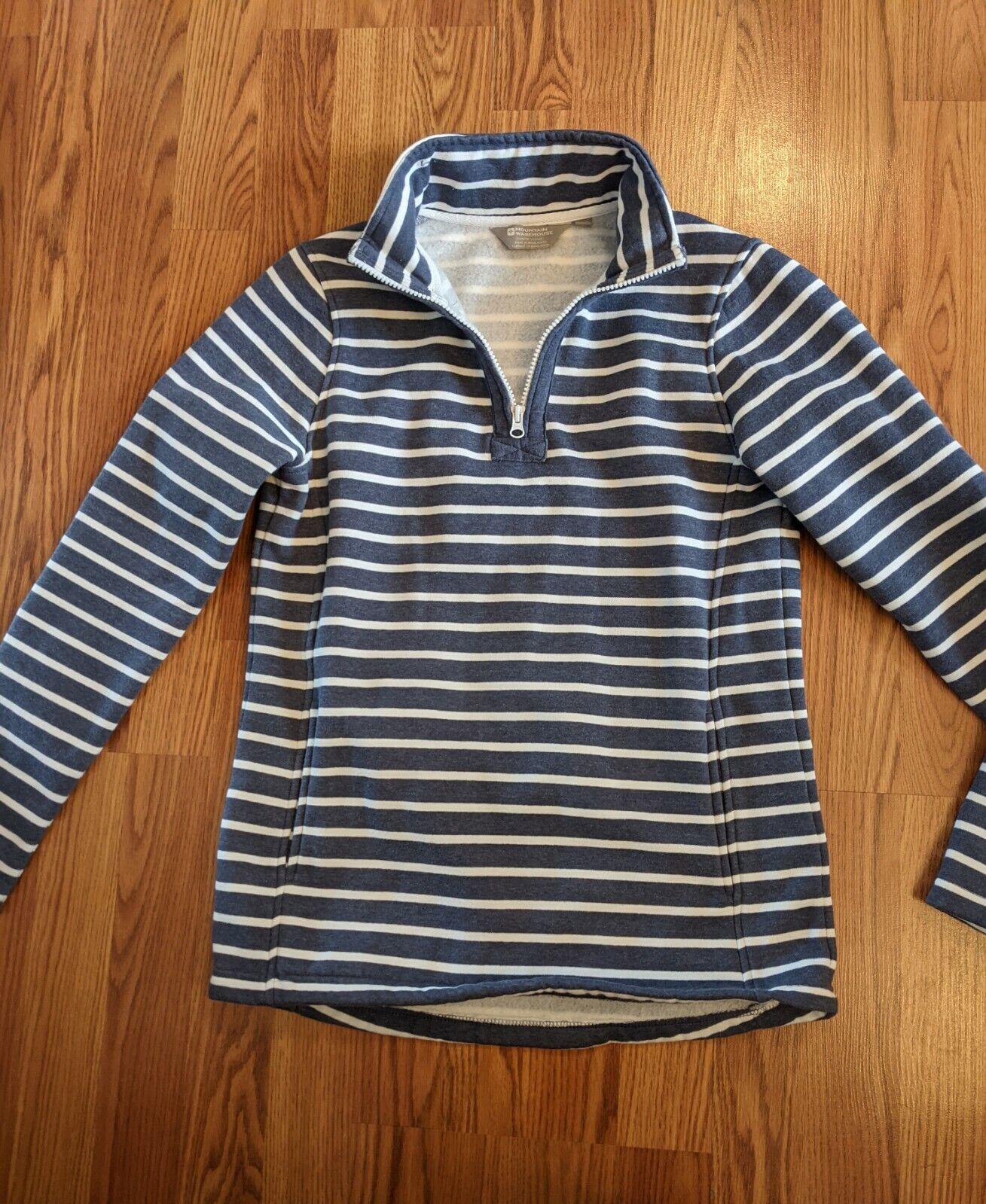 Mountain Warehouse 1/4 Zip Pullover Sweatshirt Womens Size 6 Blue White Stripe