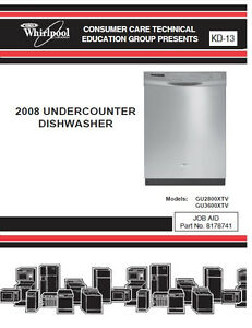 one of various whirlpool kitchen aid dishwasher service repair rh ebay com whirlpool dishwasher repair manual online Model Dishwasher Whirlpool Du1055xtvq1filter