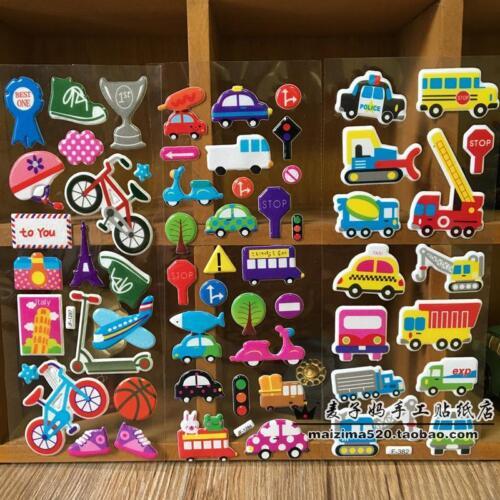 Random 12 sheets no repeat  kids Paper Crafts Traffic study Sticker Lot gift