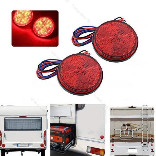 2x Round Reflector Red 24 LED Rear Tail Stop Brake Marker Light #K Truck Trailer