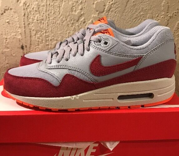 New Wmns Air Max 1 Essential 599820-015 Wlf Gry Tm Rd-TTL Orng-Smmt Wht Size 7.5