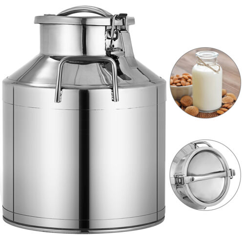 New Stainless Steel Milk Can with Lid - 10L Capacity