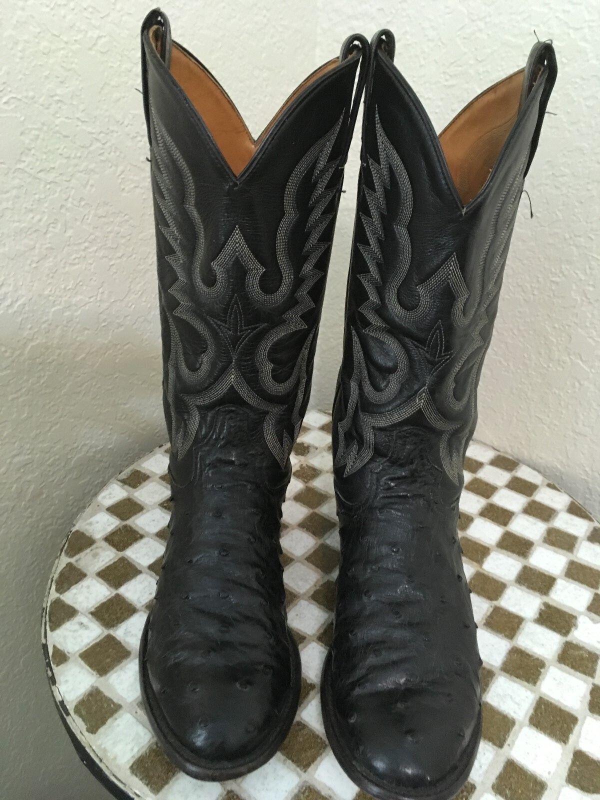 TONY LAMA 8233 Vintage USA Negro Cuero Avestruz Occidental botas De Vaquero 8 M