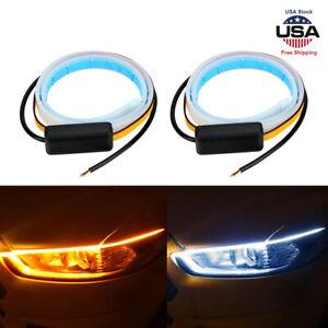 2-60CM-LED-DRL-Light-Slim-Amber-Sequential-Flexible-Turn-Signal-Strip-Headlight