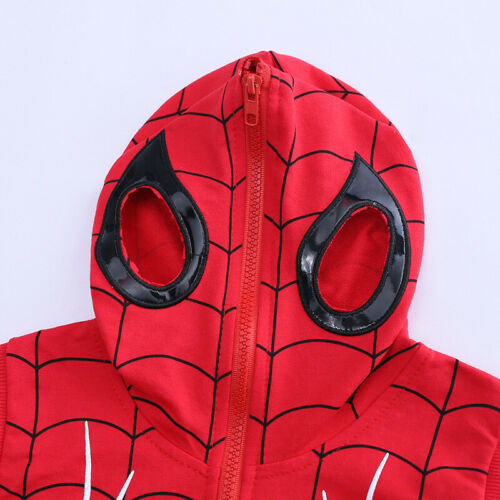 3PC Toddler Baby Boys Spider-Man Outfit Vest Hoodie+Tops+Pants Kids Clothes Set