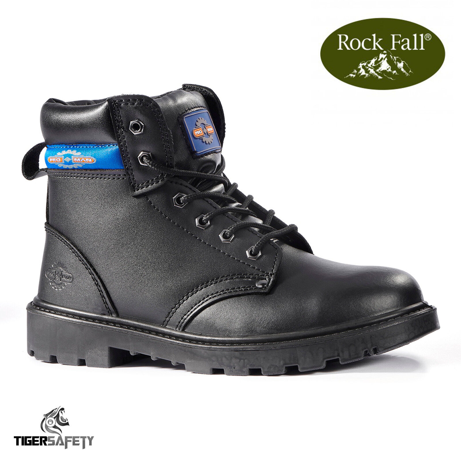 Rock Fall Pro Man Jackson S3 Black Leather Steel Toe Cap Safety Boots Work Boots