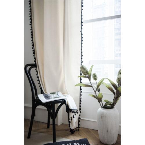 Cotton Linen Curtain with Tassels Window Screen Drape Bedroom Living Room Decor
