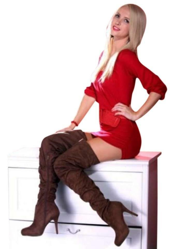 8  Suede Over The Knee Brown Boots, Stiletto thigh high boots, NIB