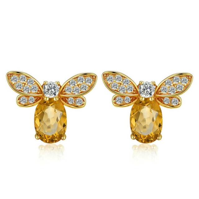 Lovely Bee Stud Earrings Natural Citrine Jewelry For Women-