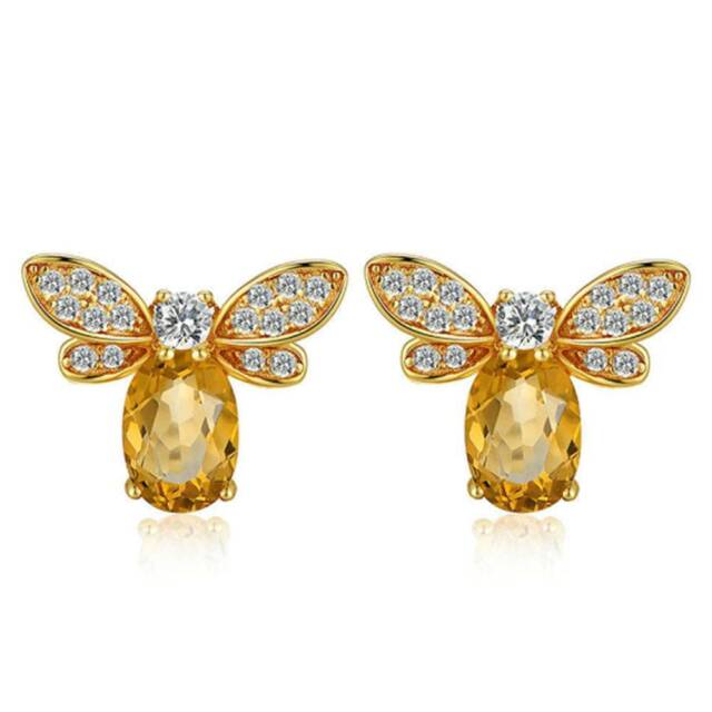 Fashion Stud Earrings For Womenjewelry Yellow Citrine Bee Animal Insects