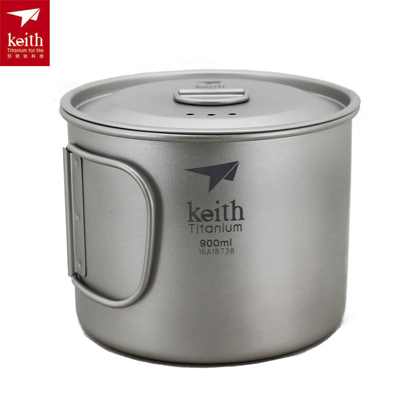 Keith Outdoor 900ml Titanium Cup with Folding Handle Lid Ultralight Camping Mug