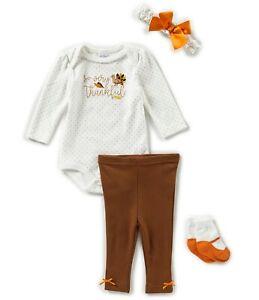 STARTING OUT Baby Girls Bodysuit Pant Headband Sock Set 4 Pc, Thanksgiving,  NWT | eBay