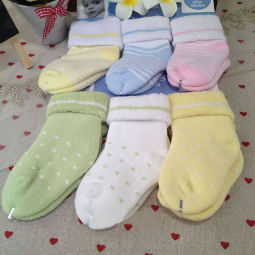 6 Pairs mixed colors baby kids thick warm terry socks