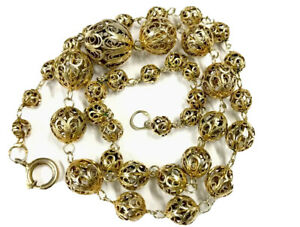 Vintage-French-Gilded-Gold-Silver-Graduating-Filigree-Bead-Necklace-GIFT-BOXED