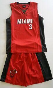 Miami Heat Kids Basketball Jersey Shorts Set Dwayne Wade 3 Red Kids Large Ebay