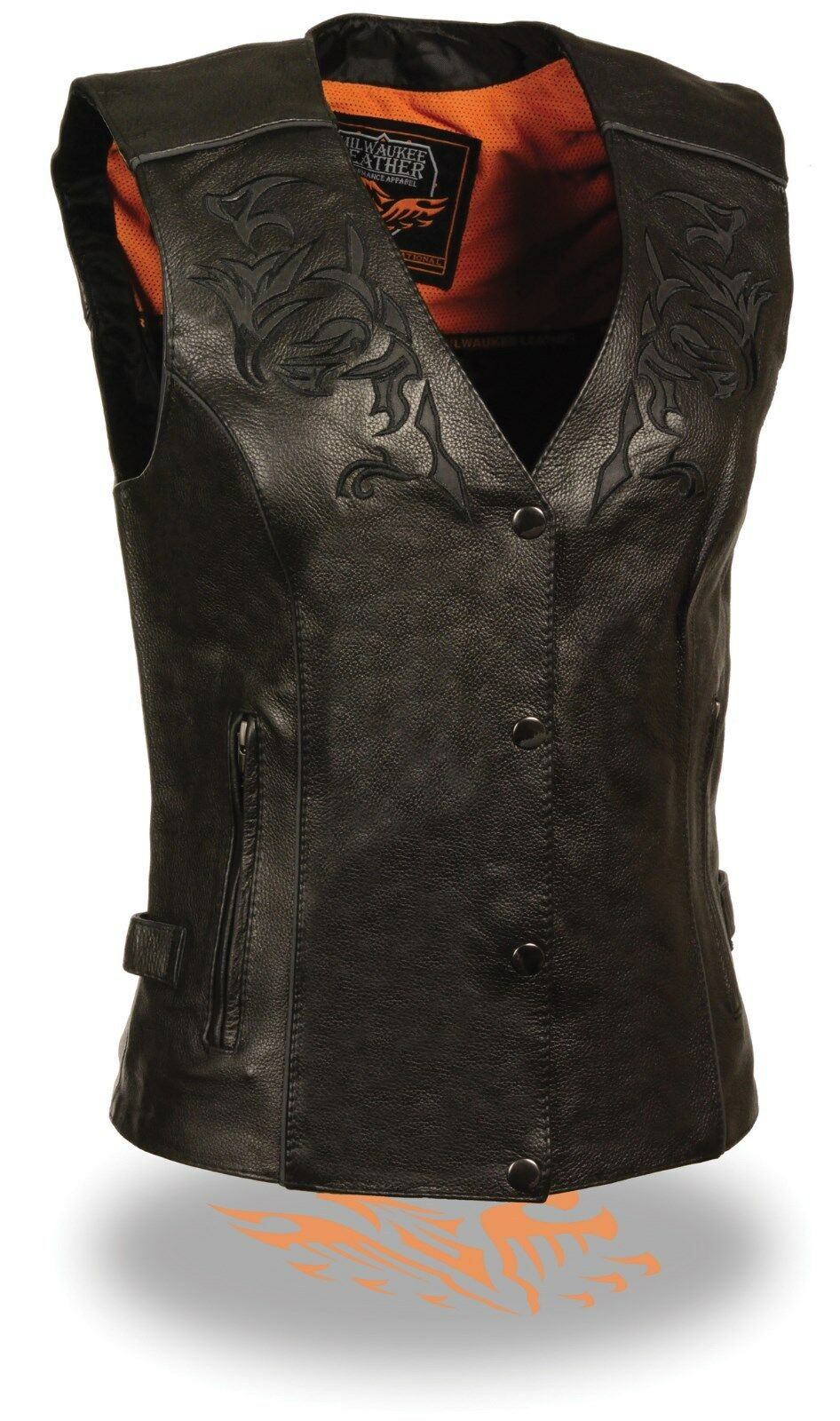 WOMEN'S MOTORCYCLE RIDING BLK LEATHER VEST W REFLECTIVE TRIBAL DESIGN & PIPING