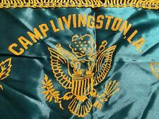 Vintage Camp Livingston LA Pillowcase Mother WWII Souviener Green Gold PC03