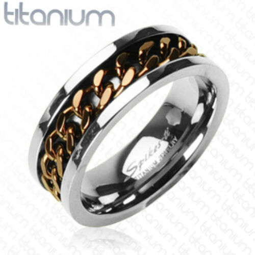 Solid Titanium with IP Coffee Chain Inlay Ring Band
