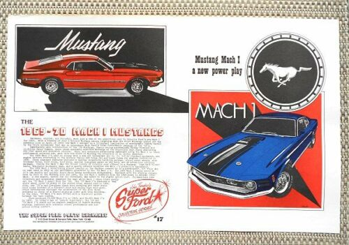 1969 1970 FORD MUSTANG MACH I 351 /& COBRA JET 428 CAR LITERATURE FACT SHEET 17