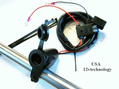 "Motorcycle 12V Lighter Accessory Socket 60/"" Harness Fuse Handlebar Power Outlet"