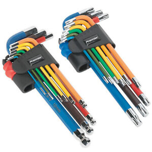 Sealey Twin Pack Long Ball-End Allen Hex Key & Torx Trx Star Multi-coloured Set