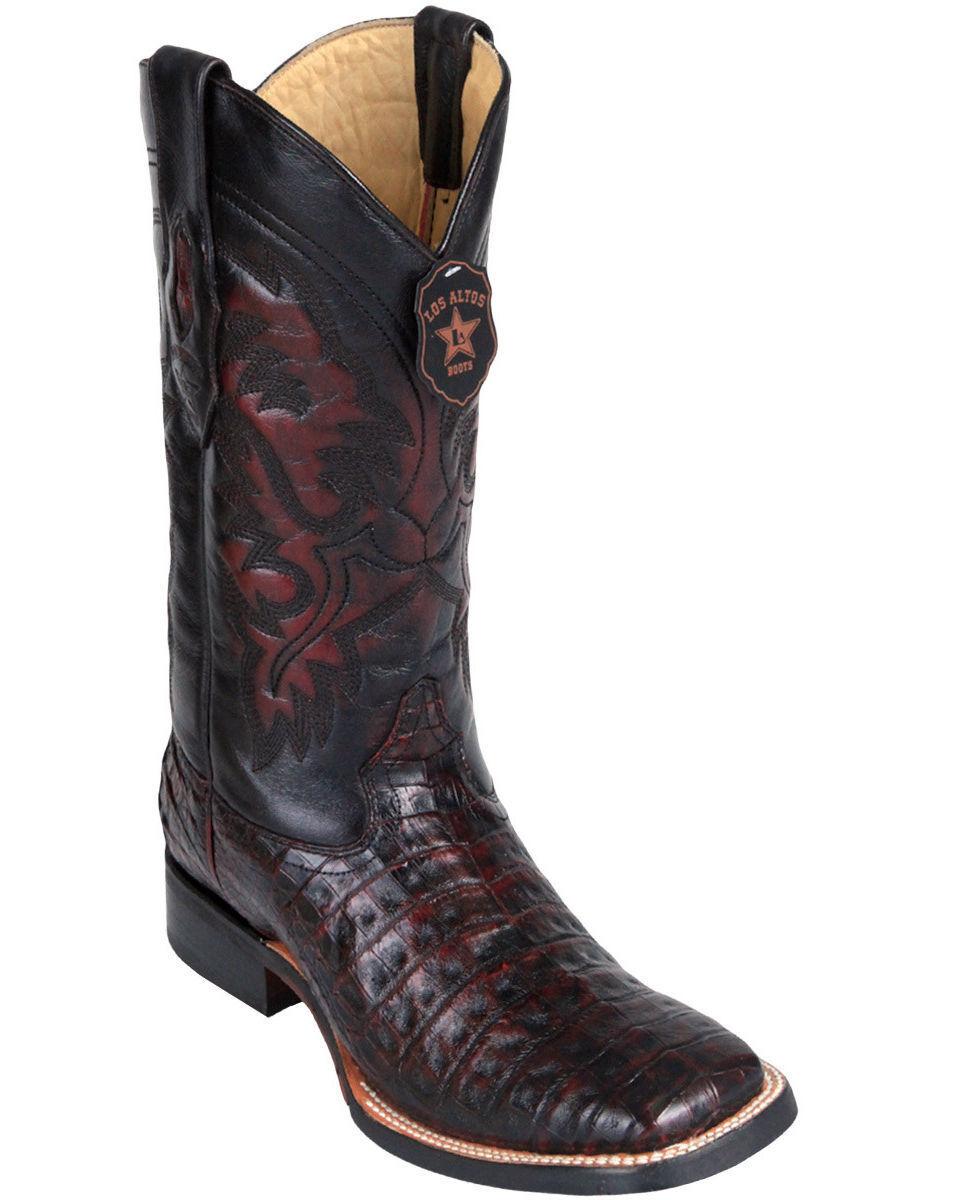 Los Altos CHERRY Caiman Crocodile Square Toe TPU Rubber Sole Western Boot EE