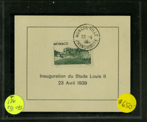 Monaco-Stamps-176-Rare-on-First-Day-Card-with-Cancel