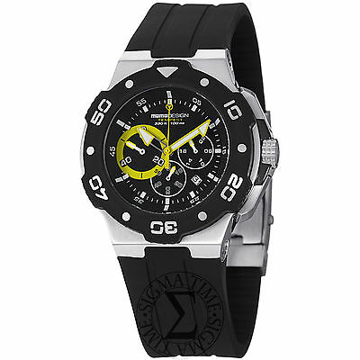 Momo Design Men's Tempest Black Rubber Strap Chronograph Watch MD1004-03BKYW-R