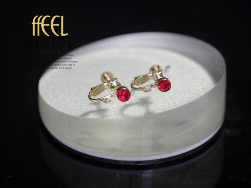 Clips a Vis Pour DIY Boucles d`Oreilles Doré Cristal Rouge Retro Original