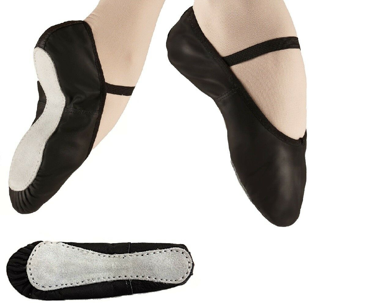 Leather Black Ballet Shoes Full Sole UK Sizes