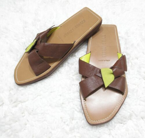 MIU MIU BROWN LEATHER BOW SANDALS 39