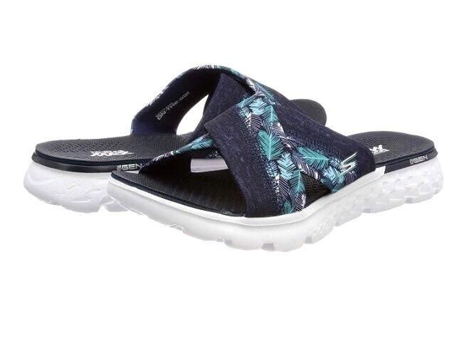 Nouveau Femmes Skechers On The Go 400 Tropical Mule Tongs Sandales Bleu Marine UK 4
