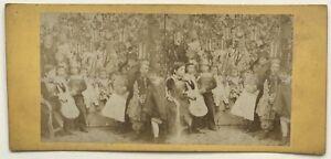 Scena Da Genere Bambini IN Costume Musica Foto Stereo Vintage Albumina c1860