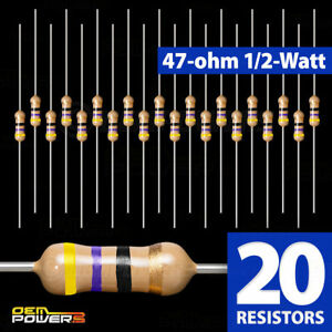20-X-RadioShack-47-Ohm-1-2-Watt-5-Carbon-Film-Resistor-2711105-BULK-PACK-NEW