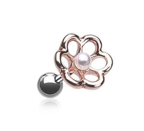 Fiore aperte con perle Trago/Cartilagine/Helix Bar-Ear Stud ~ 6mm x 1.2mm