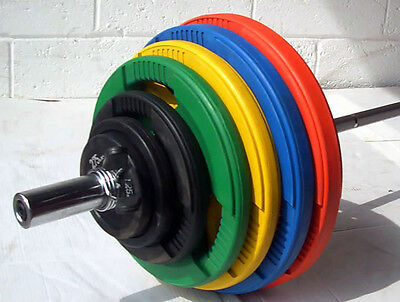 228KG Coloured Rubber Coated Tri-Grip Olympic Weight Set, 7ft 2 Barbell Bar