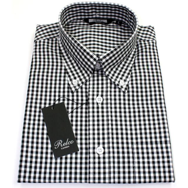 8d08de39c90 Relco Mens Black White Gingham Short Sleeved Shirt Button Down Mod Skin  Retro