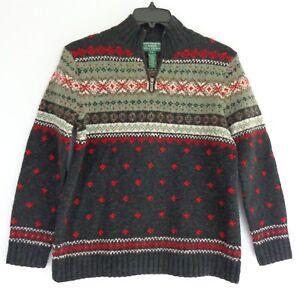 Handknit Ralph Sweater Små Uld Isle Grå Fair Kvinders Petite Zip Lauren ATraxAq8