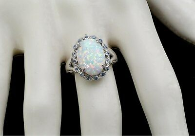 Larimar Natural 14X10mm With Aquamarine Accents Ring .925 Sterling Silver