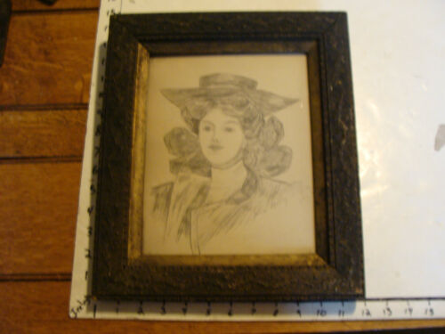Vintage Art: framed hand drawn lady, signed Julia Molloy in Ornate frame
