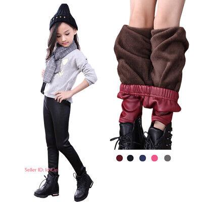 Girls Kids Children Leggings Winter Warm Thick Thermal Skinny Pants Trousers UK