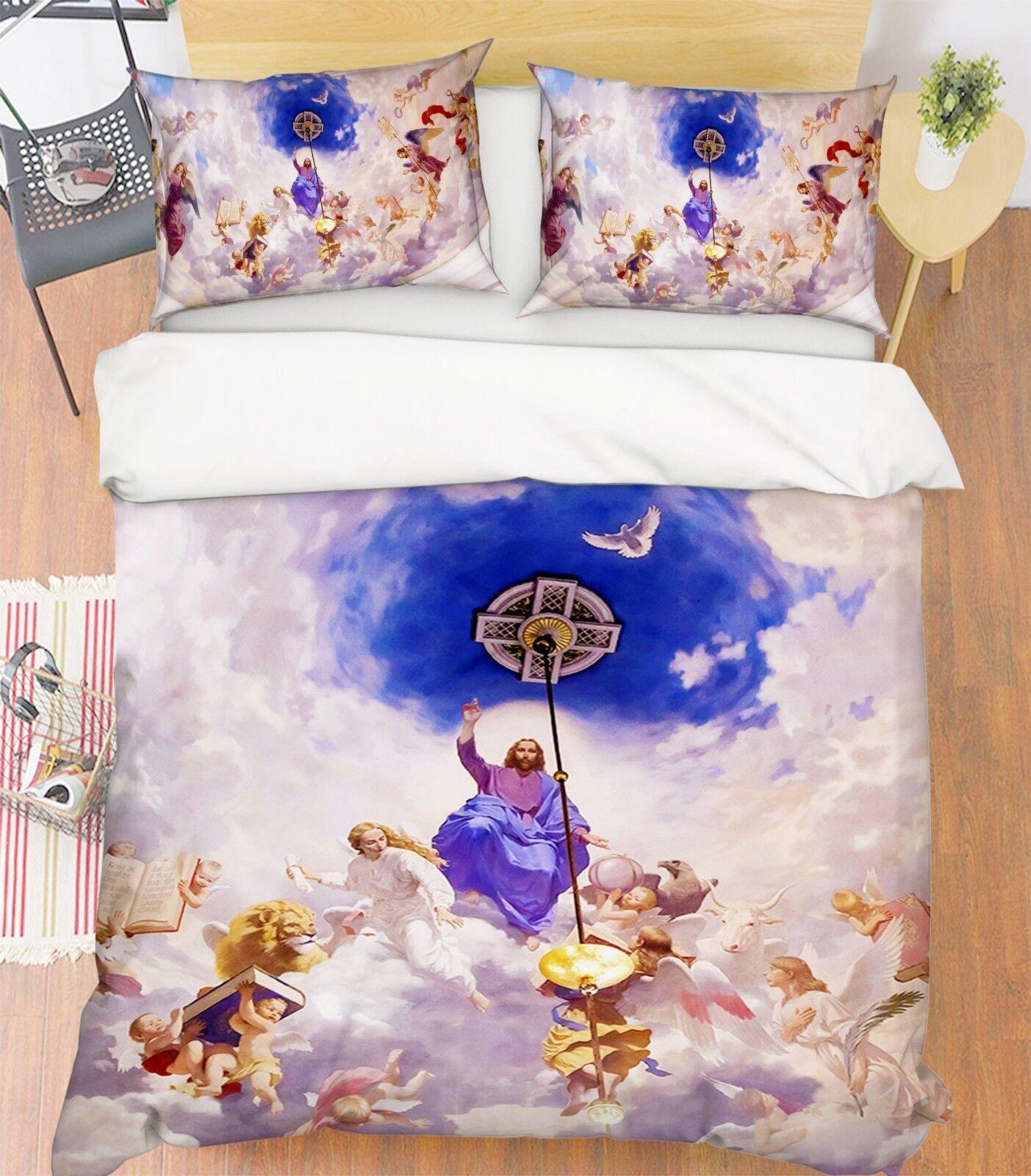 3D Wolke Engel Himmel 6 Bett Kissenbezüge steppen Duvet Decken Set Single DE